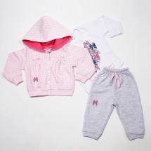 """Комплект серо-розовый для малышек """"радость"""""""