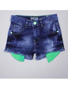 Джинсовые шорты для девочек с салатовыми карманами