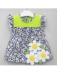 """Платье для малышек салатовое с коротким рукавом """"Ромашки"""""""