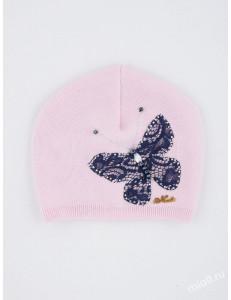 """Шапка демисезонная розового цвета с бабочкой """"ВЕСНЯНКА"""""""