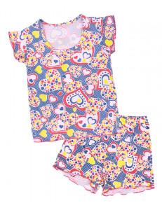 Пижама летняя красно-синие сердечки