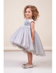 Платье нарядное с асимметричной юбкой цвета серебро