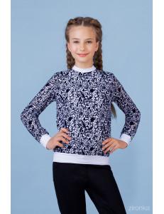 Джемпер белого цвета с синим узором