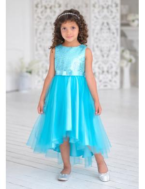 Платье нарядное бирюзового цвета с пайетками Эльза