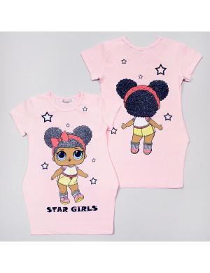 """Платье розового цвета с изображением куколки и блестками """"Лола"""""""